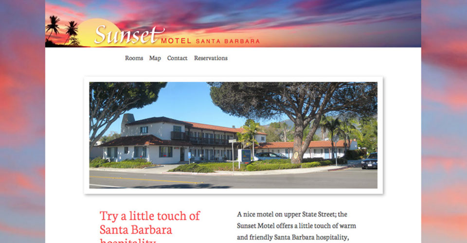 Sunset Motel Web Site Design